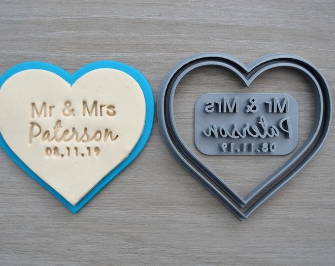 Heart V2 Wedding Shower Bridal Anniversary Engagement Valentine Party Name & Date Cookie/Fondant Cutter Set Custom Names