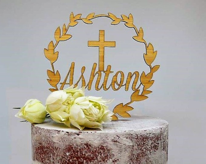 Wreath Name Cake Topper Cross Baptism Christening Confirmation Custom Personalized Timber Wood Cake Topper
