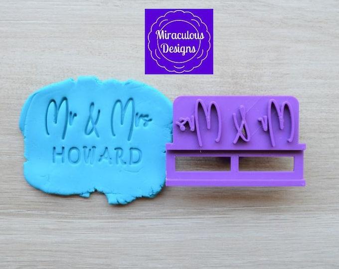 Mr & Mrs Name V2 DIY Stamp/Holder Imprint Wedding Engagement Cookie/Fondant/Soap/Embosser Stamp