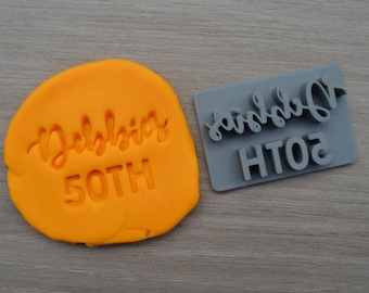 50th Birthday Custom/Personalized Name Imprint Cookie/Fondant/Soap/Embosser Stamp