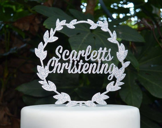 Wreath Name Christening Cake Topper - Baptism Confirmation Custom Personalized Cake Topper