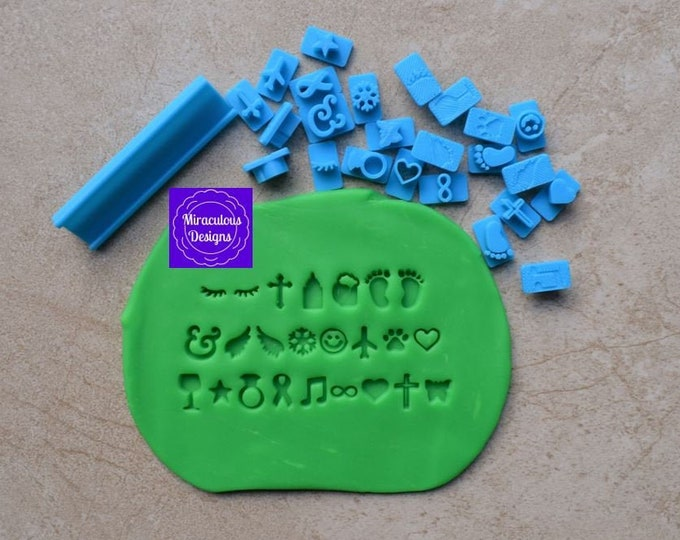 Symbol Set Size 1 - Individual Symbols Icons Special Characters Cookie Fondant Stamp Embosser