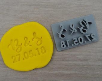 Custom Initials and Date Imprint Cookie/Fondant/Soap/Embosser Stamp