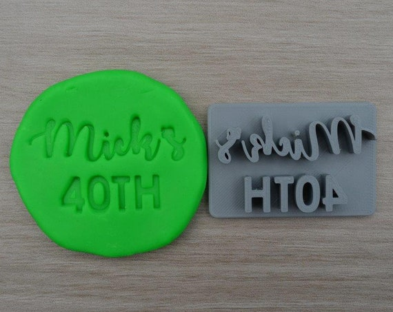 40th Birthday Custom/Personalized Name Imprint Cookie/Fondant/Soap/Embosser Stamp