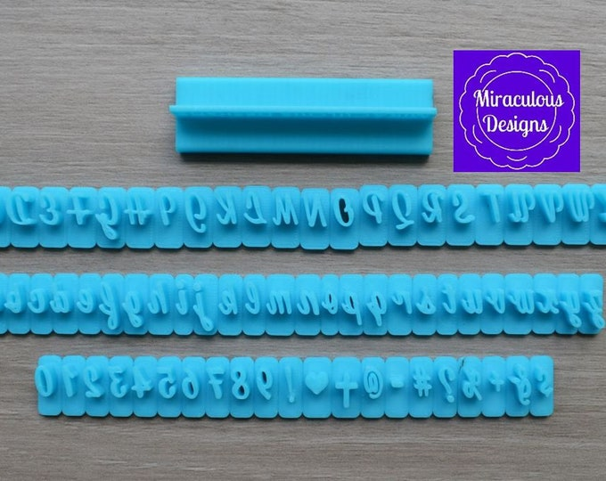 Cursive Sets Size 1 - Individual Letters Number Special Characters Cookie Fondant Stamp Embosser