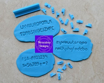 Round Plain Sets Size 1 - Individual Letters Number Special Characters Cookie Fondant Stamp Embosser