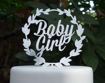 Wreath Baby Girl Cake Topper - Baby Shower Cake Topper - Baby Girl Cake Topper