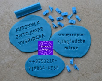 Block Plain Font Letter Sets Size 1 - Individual Letters Number Special Characters Cookie Fondant Stamp Embosser