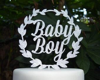 Wreath Baby Boy Cake Topper - Baby Shower Cake Topper - Baby Boy Cake Topper