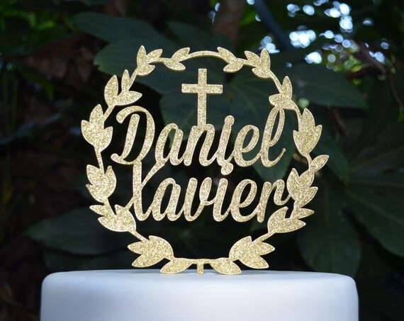 Wreath Two Names Cake Topper Cross Baptism Christening Confirmation Custom Personalized Cake Topper