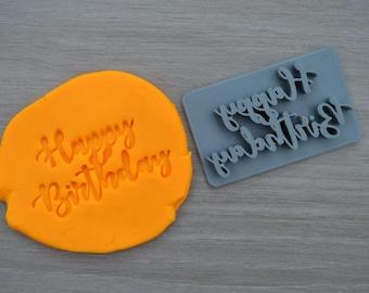 Happy Birthday Font 2 Imprint Cookie/Fondant/Soap/Embosser Stamp