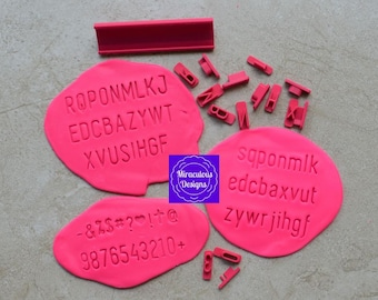 Plain Font Size 2 Letter Sets - Individual Letters Number Special Characters Cookie Fondant Stamp Embosser