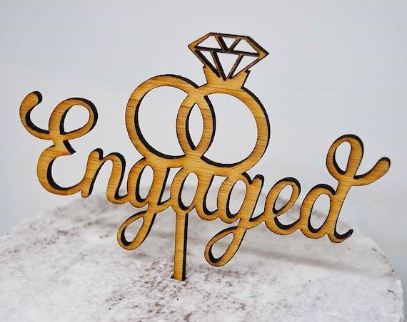 Engagement Timber Wood Cake Topper - Wedding Ring Cake Topper - Diamond Ring Cake Topper