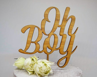 Oh Boy Cake Topper - Baby Shower Timber Wood Cake Topper - Baby Boy Cake Topper