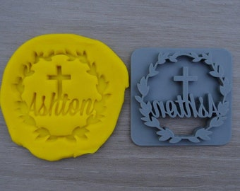 Wreath Name Cross Baptism Christening Confirmation Imprint Custom Personalized Cookie/Fondant/Soap/Embosser Stamp