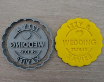 Wedding Any Name & Date Cookie Cutter Fondant Cutter Stamp Party Favor Cake Topper Custom/Personalised