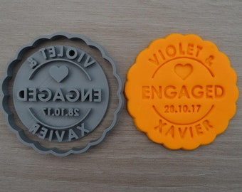 Engaged Any Name & Date Cookie Cutter Fondant Cutter Stamp Party Favor Cake Topper Custom/Personalised