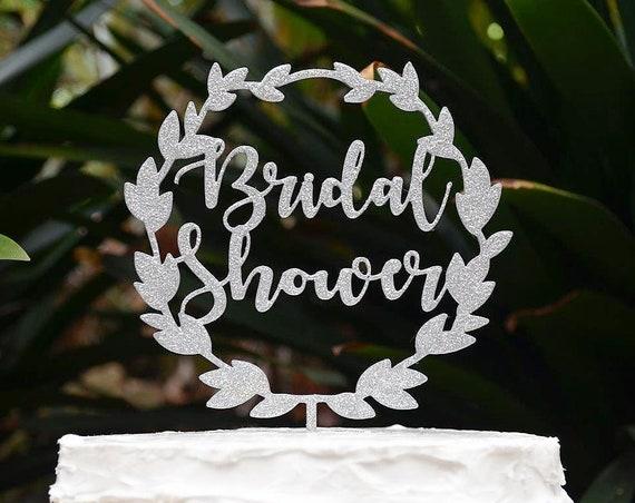Wreath Bridal Shower Cake Topper - Wedding Engagement Cake Topper