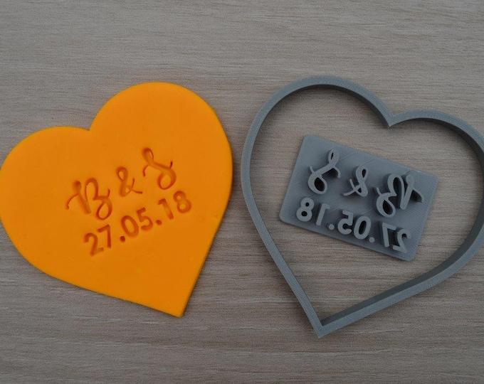 Heart Wedding Shower Bridal Anniversary Engagement Valentine Party Initial Cookie/Fondant Cutter Set Custom Initials & Date