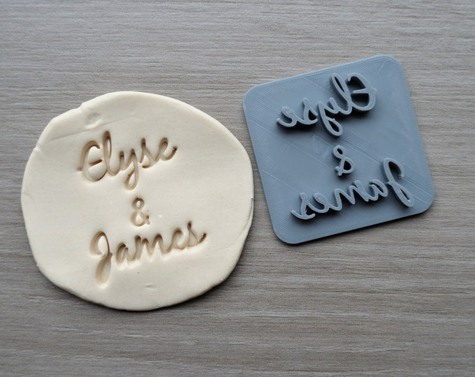 Custom Name and Name Font 3 Imprint Cookie/Fondant/Soap/Embosser Stamp