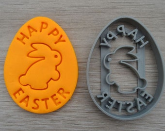 Happy Easter Egg Rabbit Cookie Cutter Fondant Cutter