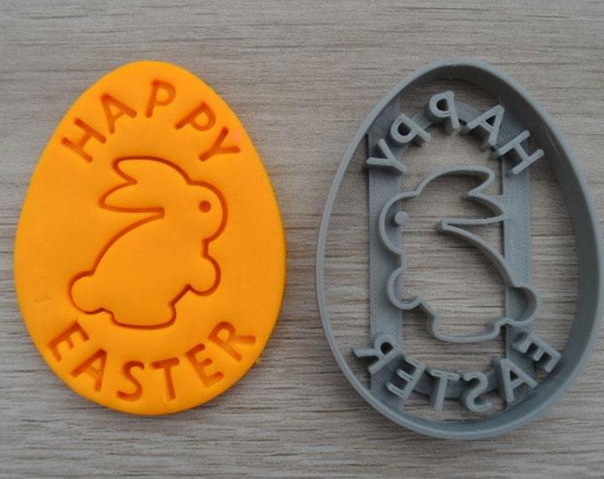Happy Easter Egg Rabbit Cookie Cutter Fondant Cutter