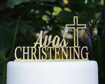 Cross Christening Custom Personalized Cake Topper