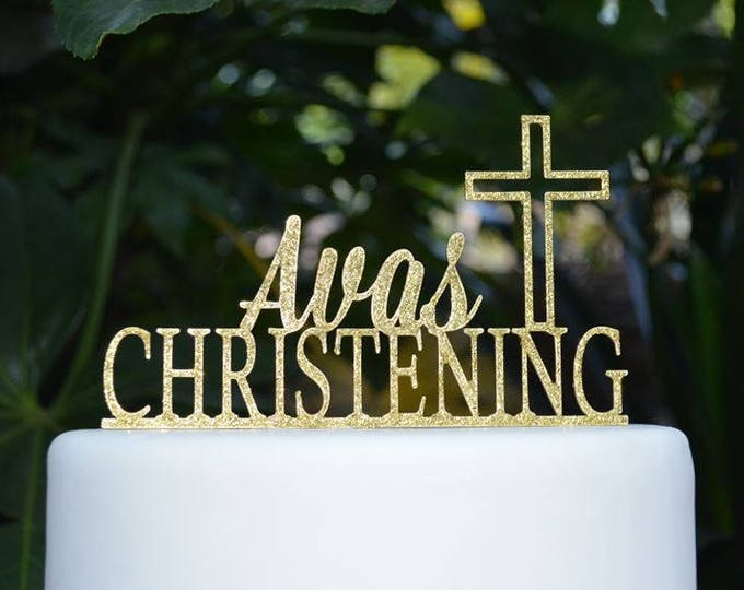 Cross Christening Custom Personalized Cake Topper