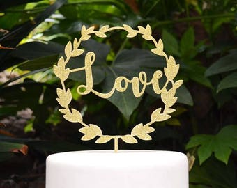Wreath Love Wedding Cake Topper - Wedding Engagement Cake Topper