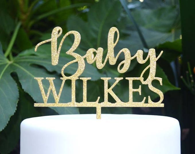 Baby Name Cake Topper Custom Personalized - Baby Shower Cake Topper - Baby Boy Baby Girl Cake Topper Font 1