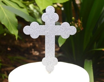 Cross Christening Baptism Confirmation Cake Topper