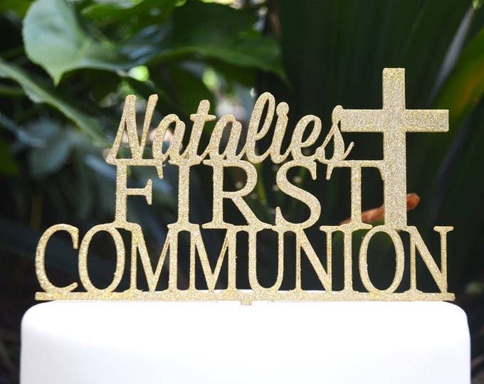 First Communion Cross Baptism Christening Confirmation Custom Personalized Name Cake Topper