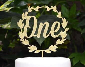 Wreath One Birthday Cake Topper - 1st Birthday Cake Topper