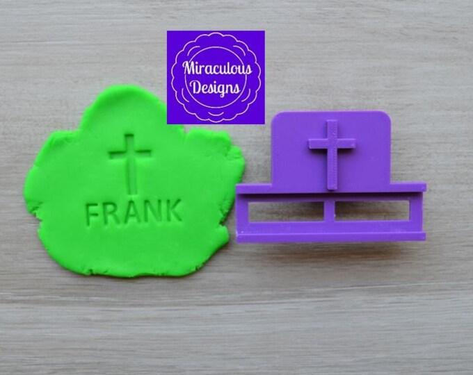 Cross Name DIY Stamp/Holder Imprint Wedding Engagement Cookie/Fondant/Soap/Embosser Stamp