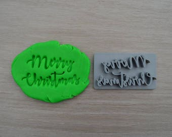 Merry Christmas Imprint Font 1 Cookie/Fondant/Soap/Embosser Stamp