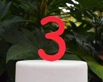 Custom Number Cake Topper 0-99 - Font 1 Birthday Cake Topper - Assorted Colours