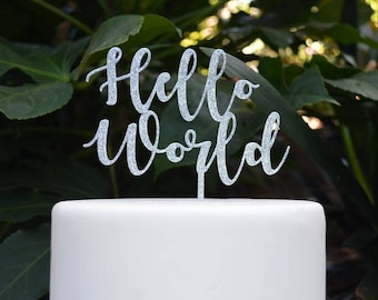 Hello World Cake Topper - Baby Shower Cake Topper - Baby Boy Baby Girl Cake Topper