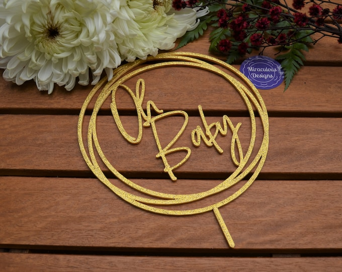 Oh Baby Ring Cake Topper - Baby Shower Cake Topper - Baby Boy Baby Girl Cake Topper