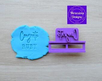 Congrats Name DIY Stamp/Holder Imprint Wedding Engagement Cookie/Fondant/Soap/Embosser Stamp