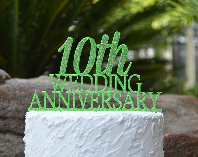 10th Wedding Anniversary Cake Topper - Assorted Colours