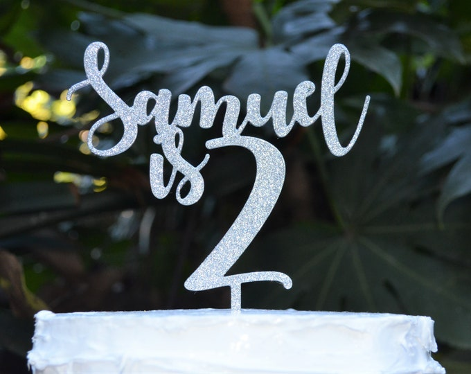 Age 2 Custom/Personalized Name Birthday Cake Topper - Assorted Colours