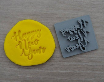 Happy New Year Imprint Font 1 Cookie/Fondant/Soap/Embosser Stamp