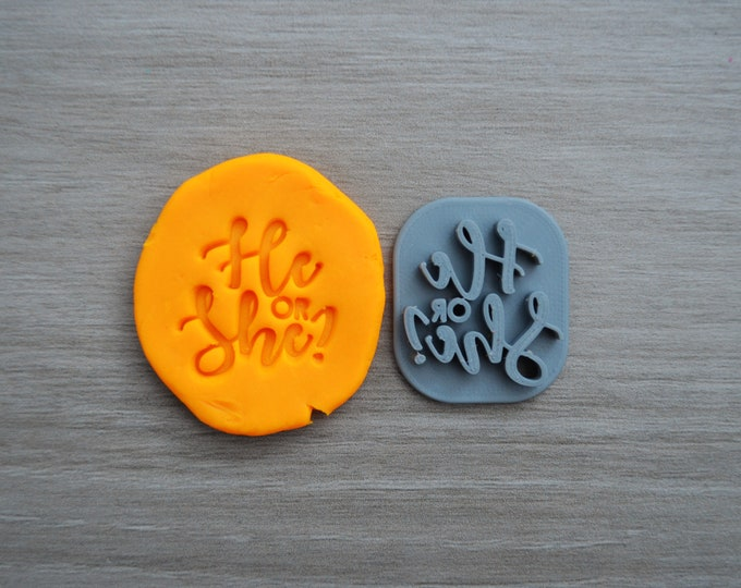 He or She Imprint 3.3cm Cookie/Fondant/Soap/Embosser Stamp