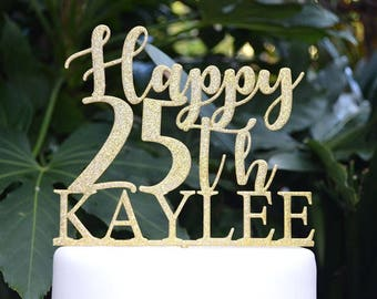 Happy (Any Number/Age) Birthday Custom/Personalized Name Cake Topper - Assorted Colours