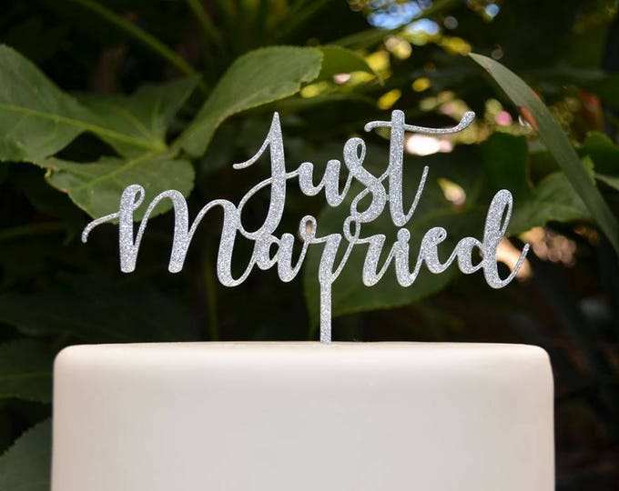 Just Married Cake Topper - Bride and Groom Wedding Cake Topper