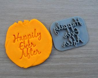 Happily Ever After Imprint Font 2 Cookie/Fondant/Soap/Embosser Stamp