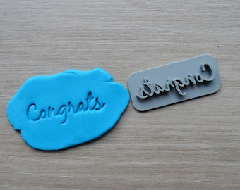 Congrats Font 2 Imprint Cookie/Fondant/Soap/Embosser Stamp