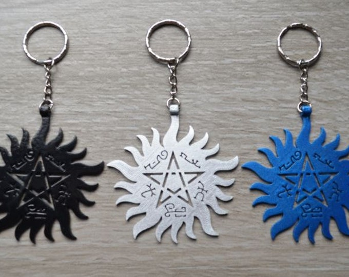 Protection Tattoo & Devil's Trap - Keyring Keychain Bag clip - Pentacle