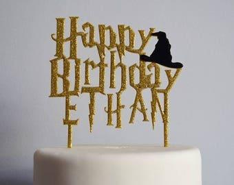 Happy Birthday Wizard Hat Cake Topper Custom Personalized