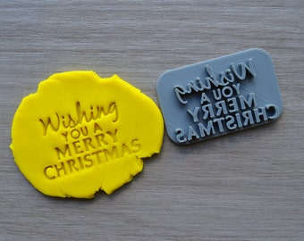 Wishing You A Merry Christmas Imprint Cookie/Fondant/Soap/Embosser Stamp
